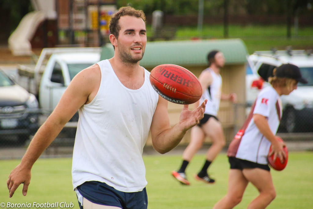 Matt Geraghty at preseason training with Boronia Football Club in February 2016.