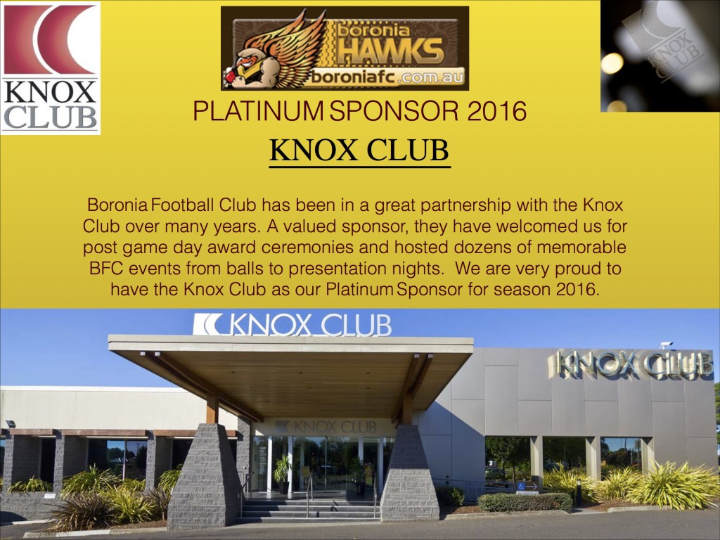 Knox Club Platinum Sponsor 2016-2